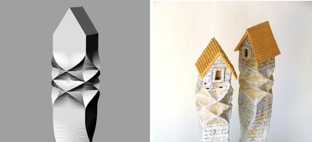Sanver Özgüven. Natilius Houses Series, 2016. Digital rendering, left; finished sculpture, right.