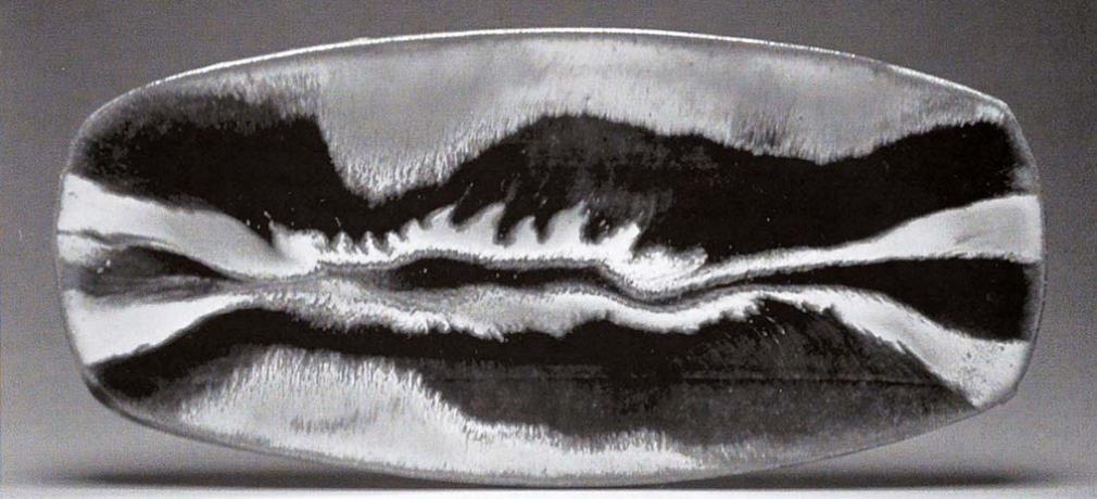 Ceramic Slab. Corn-stalk ash and glaze with copper and creek clay glaze. 22in.