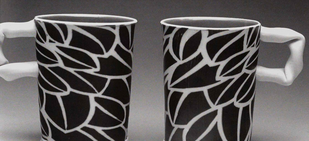 Coffee Cups 4.5 inches tall. 2007. Stoneware, inlaid black slip, stretched slabs, Cone 10 reduction.