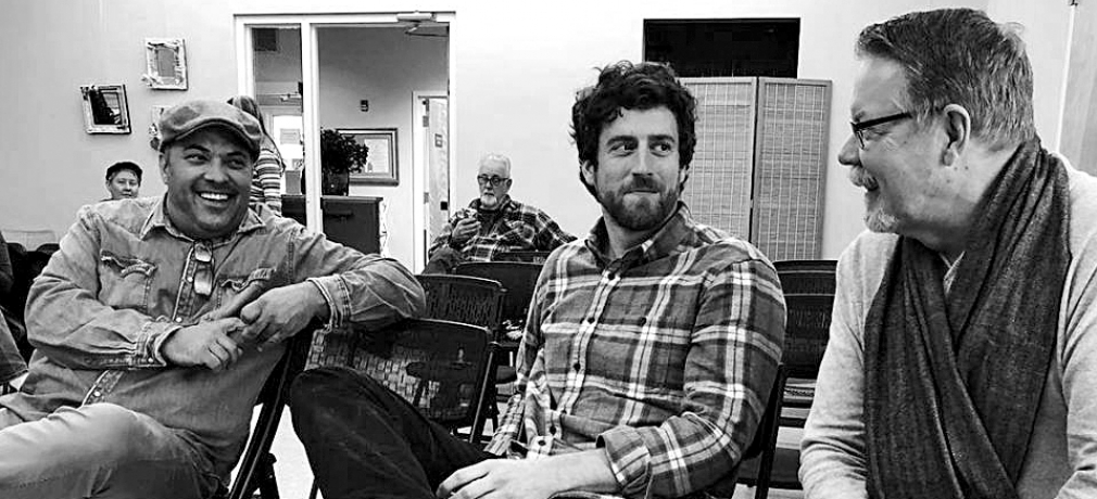 From left to right: Seth Rainville, Stuart Gair, Mark Burns at Falmouth Art Center, Falmouth, Massachusetts. Photograph by Kathy King.