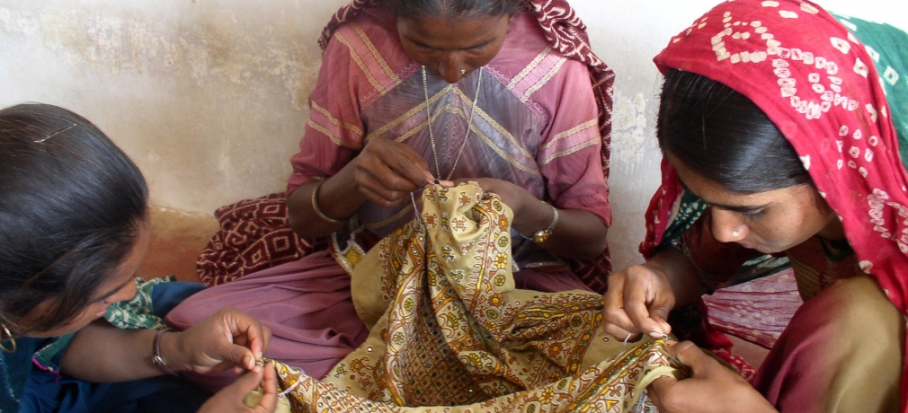 Tribal women of Kutch embroidering garments. Photo by author.