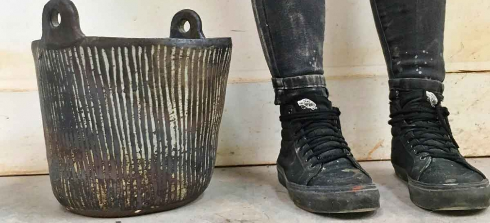 Melissa Weiss, Bucket with Pinstripes, 2017. 18x12 in. Coil-built. Wild clay custom stoneware body, slip, ash glaze, iron wash; fired to Cone 10  in gas-reduction and reduction-cooled.