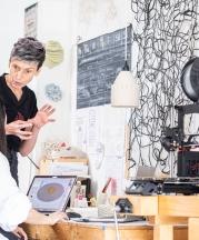 Timea Tihanyi mentoring student intern Wanna Huang at Slip Rabbit Studio, Seattle, Washington, 2019. Photo by Mark Stone, University of Washington.