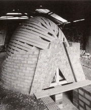 Building 300 cu. ft. kiln at Duck Pool Cottage, 1994.
