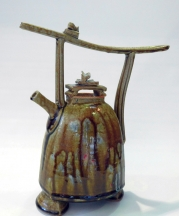 Bob McWilliams. Ash Teapot, 2016. Stoneware, thrown, cut, and altered. 13 x 11 x 6 in. Photograph by artist.