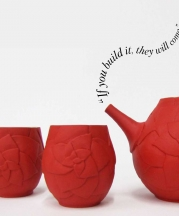 Haley Martin, Northridge High School, Layton, Utah. Red Teapot Set, 2018. 6.5x17x5.5 in. Wheel-thrown, altered, carved, layered underglaze. Winner of three awards at the 21st Annual National K-12 Ceramics Exhibition, Pittsburgh, Pennsylvania.