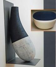 Left: Iqaluit, 2013. Ceramic, steel mixed media, 12 x 12 x 28 in. Inset:Kudlik (blue), 2013. Ceramic,mixed media, 22 x 15 x 16 in. All images courtesy of Lacoste Gallery.