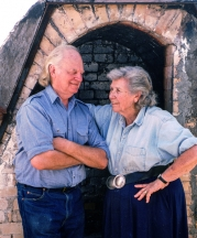 The Heinos in front of their salt kiln, Ojai, California, 1992. Photograph by Bill Dow.