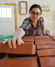 Ayumi Horie working on the Portland Brick Project