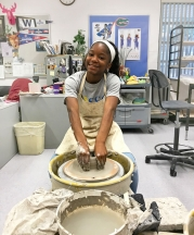 Keyontee Patterson learns wheel throwing in the Ceramics 1 class at Gainsville High School, 2018. All photographs by author.