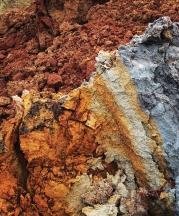 Striations in a Catawba clay deposit, North Carolina.