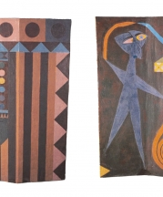 Norm Schulman. The Wizard Unfurls the World (front and back view), 1984. Stoneware, 48 x 36 x 12 in.