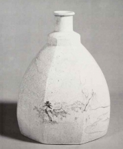 Bottle. Satsuma ware. Edo period, 18th century. Stoneware with cobalt under colorless glaze. H. 8 in. Courtesy of the Freer Gallery of Art, Smithsonian Institution, 92.26.