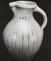 Gallon Pitcher. Kaolin slip drips with celadon glazed neck. 14 in. Wood fired. 1992. Photo Robin Alexander.