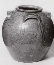 Alkaline-glazed stoneware fifteen gallon storage jar, Daniel Seagle (1805-1867), Catawba Valley, North Carolina.