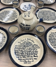 "A dinner set for poet Mary Ruefle's April 2020 reading at UMass Amherst has as a centerpiece a plate set inspired by her short prose piece ""Old Immortality."""