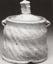 Wood salt-fire covered jar, Gregory MIller 2002