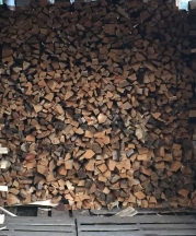 Kristin Muller's wood stack - fuel for her kiln.
