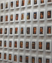 iPhone Portrait Series, 2007-8. Installation view, each piece 4.5 x 2.5 in.