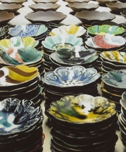 Sean O'Connell. Salad Days Plates, greenware (rear), glazed earthenware (front), 2009.