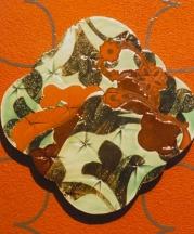 Trivet, 2009. Vinyl wall pattern, dark stoneware, silk-screened transfers, 6in.
