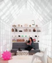 Ronald Rael. Cabin of 3D-Printed Curiosities (interior), 2018.