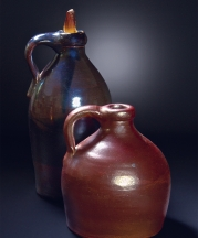 Albany slip-glazed Jugs, 19th century. Left, 9.5 x 5.5 in. Right, 7 x 7 in. Photo by Joseph Szalay.