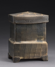 Michael Simon, Black Box. Thrown and altered, cone 10, salt-glazed. Photo by Al Karvey.