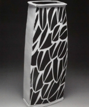 Vase 11 inches tall. 2006. Stoneware, inlaid black slip, stretched slabs, Cone 10 reduction.