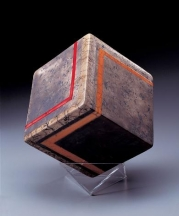 Harriet Brisson Cube Striped in Half, 1989. Raku; 6 in. sq. 46th Concorso Internazionale, della Ceramica D'Arte, Faenza, Italy. From Brisson's 50NOW retrospective exhibition catalog.