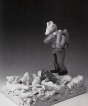 The Stranger, 2008. Porcelain and burlap. 16 x 10 x 15 in.