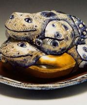 Frog Butter Dish, 2008. Terracotta, maiolica, luster, glass enamels.