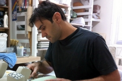 Frank Saliani working in his studio, Brooklyn, NY.