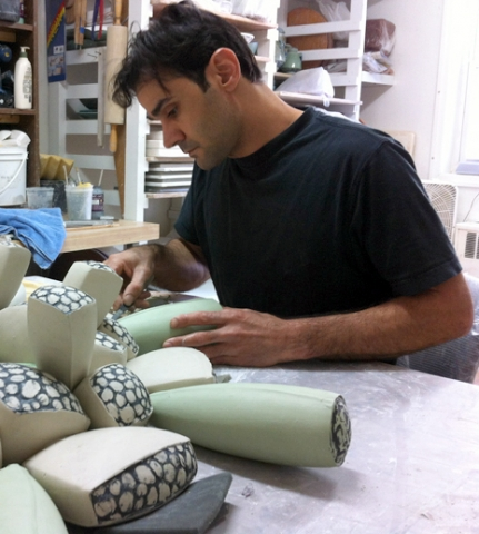 Frank Saliani working in his studio, Brooklyn, NY.