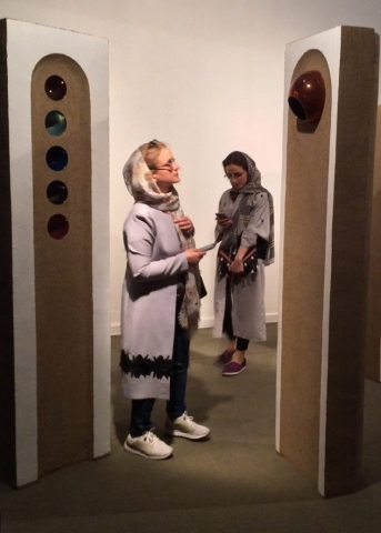 Jillian Echlin at an exhibition of artwork by Abbas Akbari, 2017.