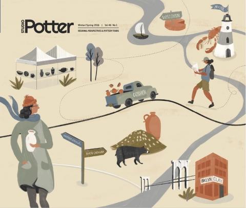 Cover Illustration by Zoe Pappenheimer for Studio Potter journal, 2018.