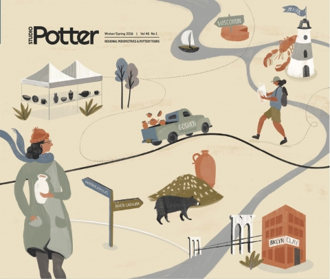 Cover Illustration by Zoe Pappenheimer for Studio Potter journal, 2018.