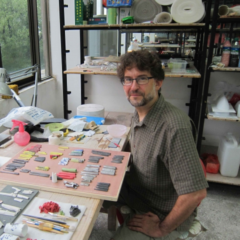Paul Leathers in his studio, 2013. Photograph by Trudy Golley.