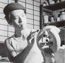 Yagi Kazuo in his studio, 1954.