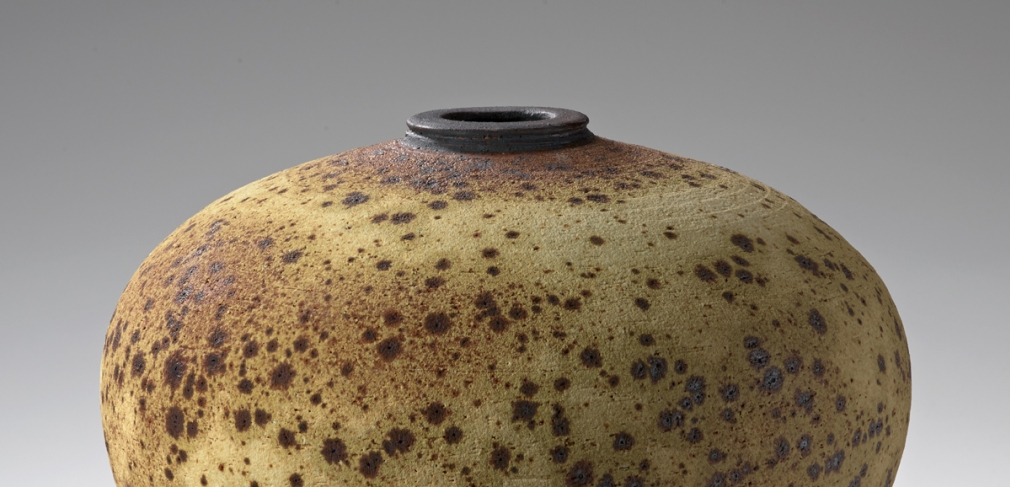 Vivika and Otto Heino. Vase, 1980s. Stoneware with Hawaiian black sand, apple-ash glaze, black slip. 8.25 x 10.25 in.