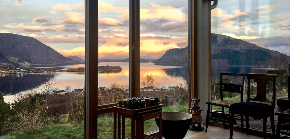 View from the interior of Helland-Hansen's studio in Seimsfoss, Norway, 2017.