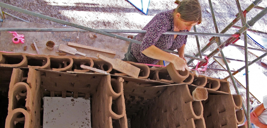 Hole constructs the foundation of her sculpture at the Cary Arts Center, Cary, North Carolina, 2012.