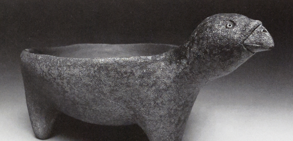 "Animal Bowl, ""Paul"", 2009. Anagama-fired dark stoneware. 7 X 14 x 10 in."
