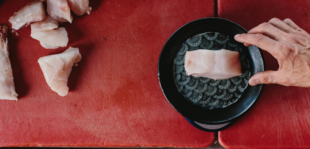 Wreckfish on a plate by Caitlynn Lancaster. All photographs by Andrew Thomas Lee, 2015.