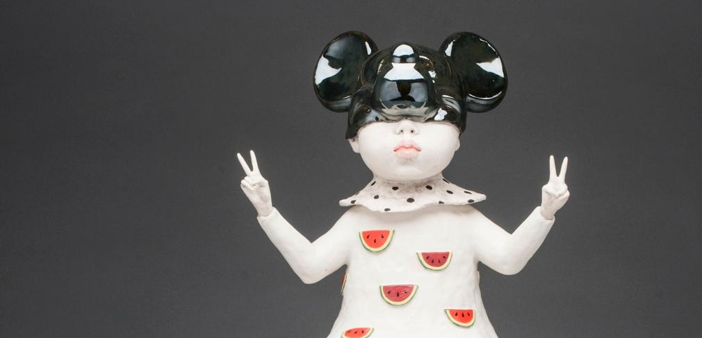 "Ahrong Kim. ""Kimcheese,"" 2017. Porcelain, stoneware, luster, stone. 7.5 x 8 x 19 in."