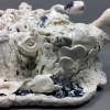 "Hannah Walters, ""Inkwell,"" 15.75″x12″x6″, porcelain and crank clay with tin glaze"