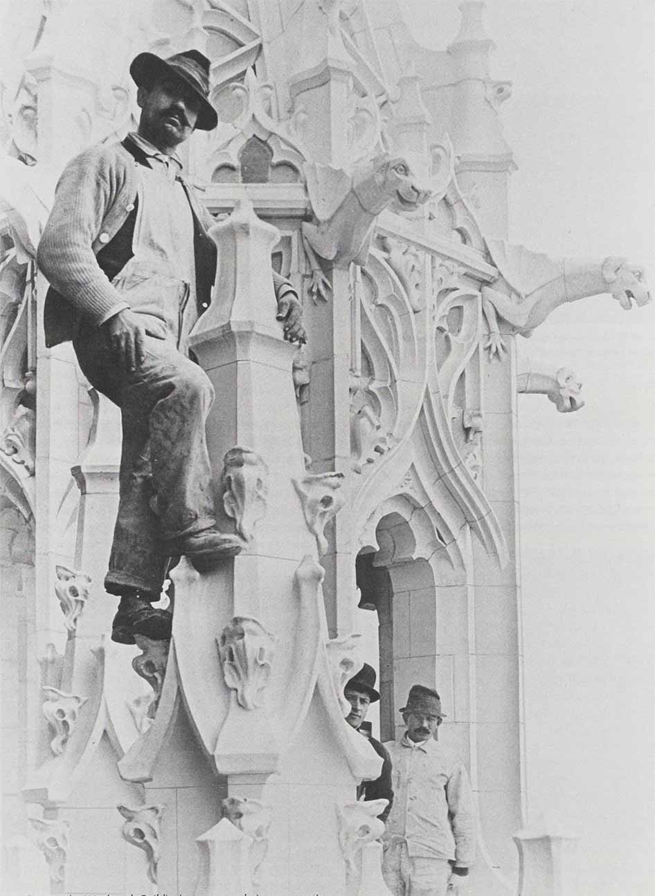 Workers on the Woolworth Building's terra cotta construction
