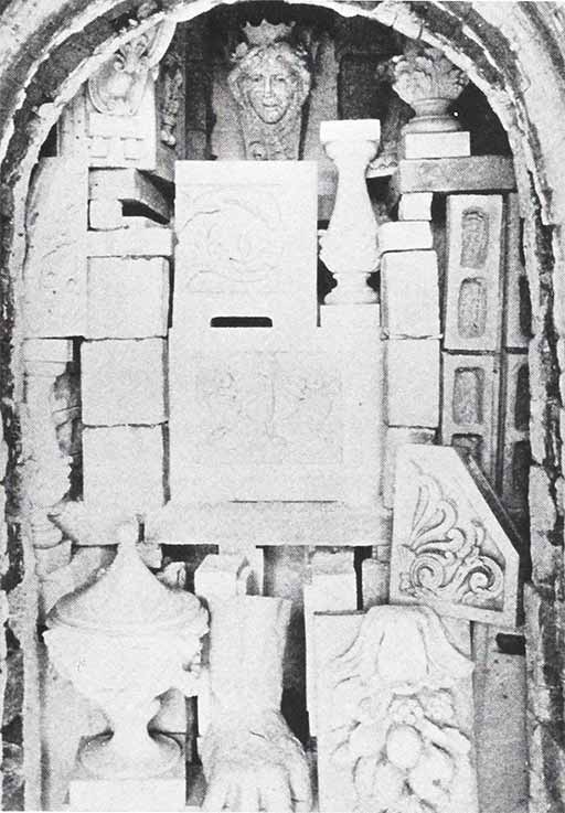 Turn-of-the-century photo of terra cotta stacked in a kiln at the New York Architectural Terra Cotta Company, Long Island, NY.